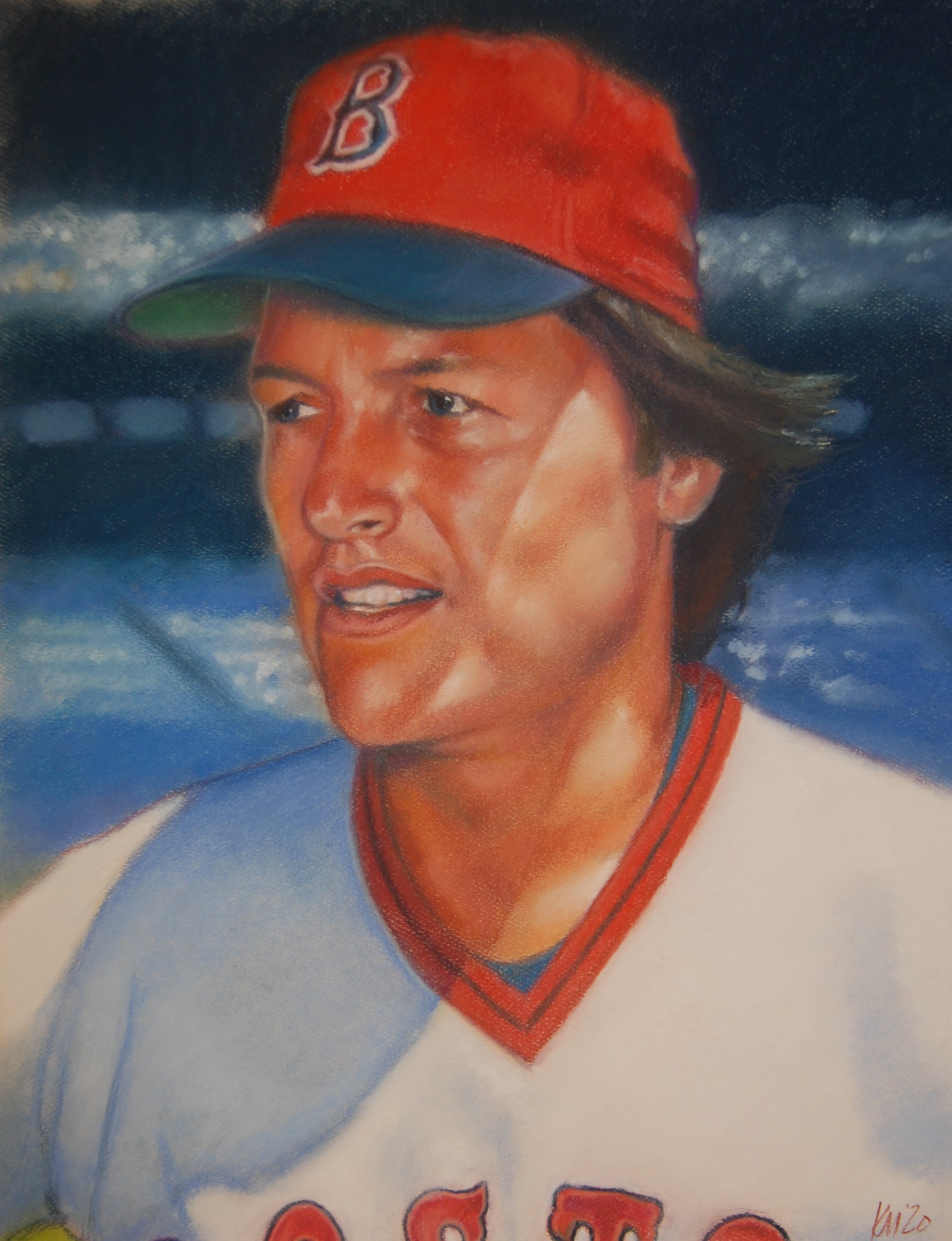 Carlton Fisk, color pastel on paper, 2020