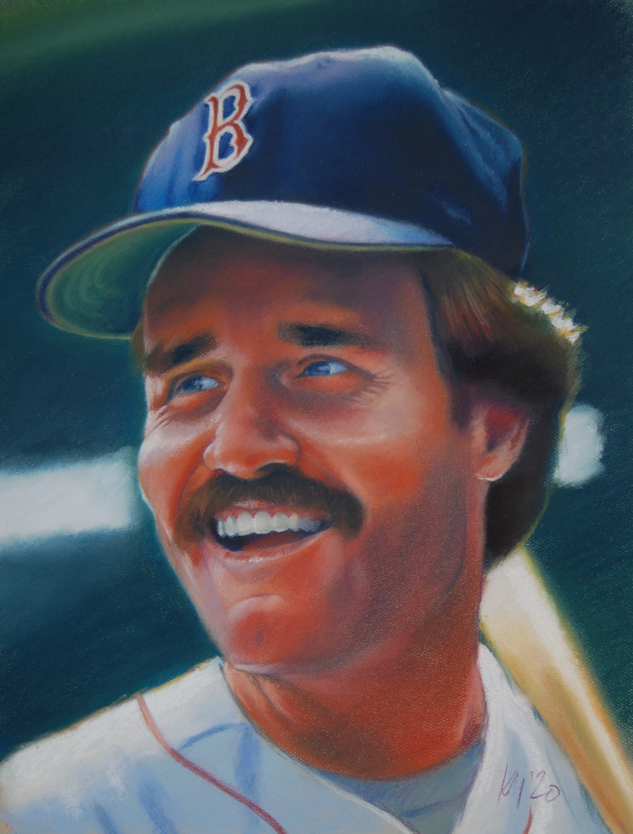 Wade Boggs, color pastel on paper, 2020