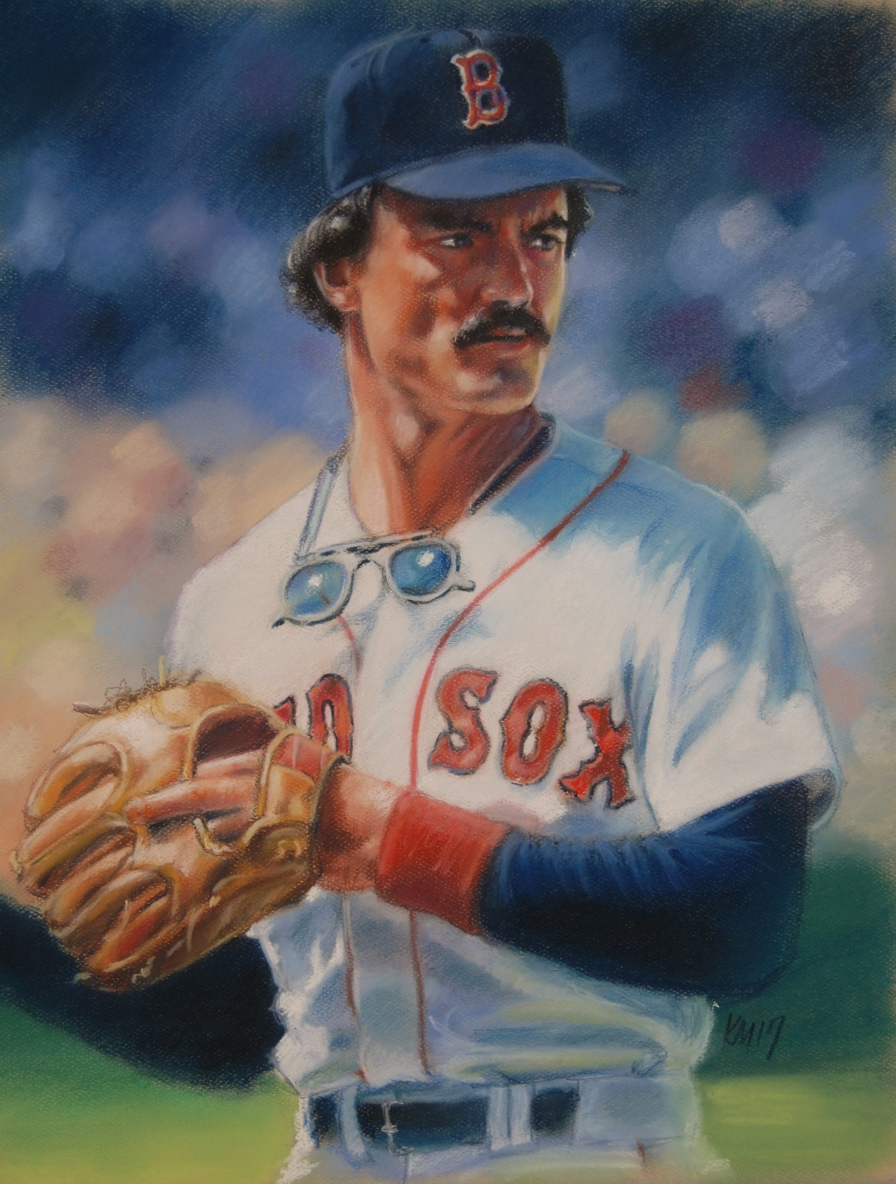 The Right Fielder, color pastel on paper, 2018