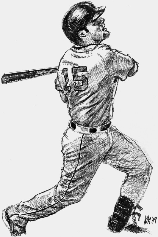 Dustin Pedroia, pen and ink on Bristol board, 2009