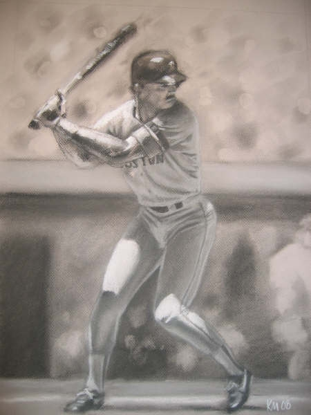 Dwight Evans, charcoal on paper, 2008