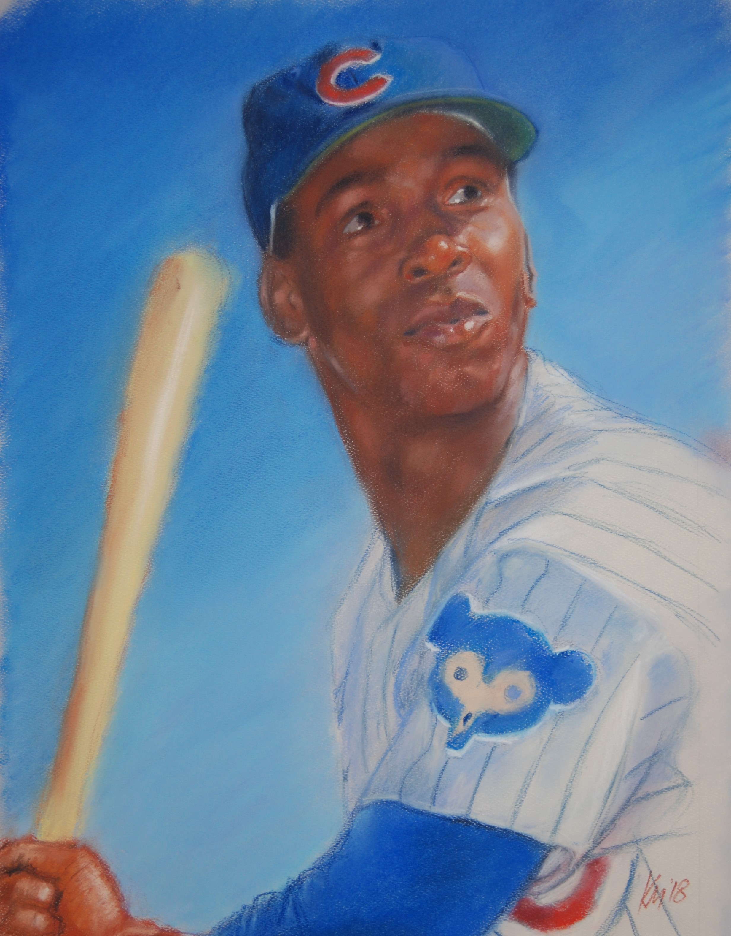 Ernie Banks, color pastel on paper, 2018