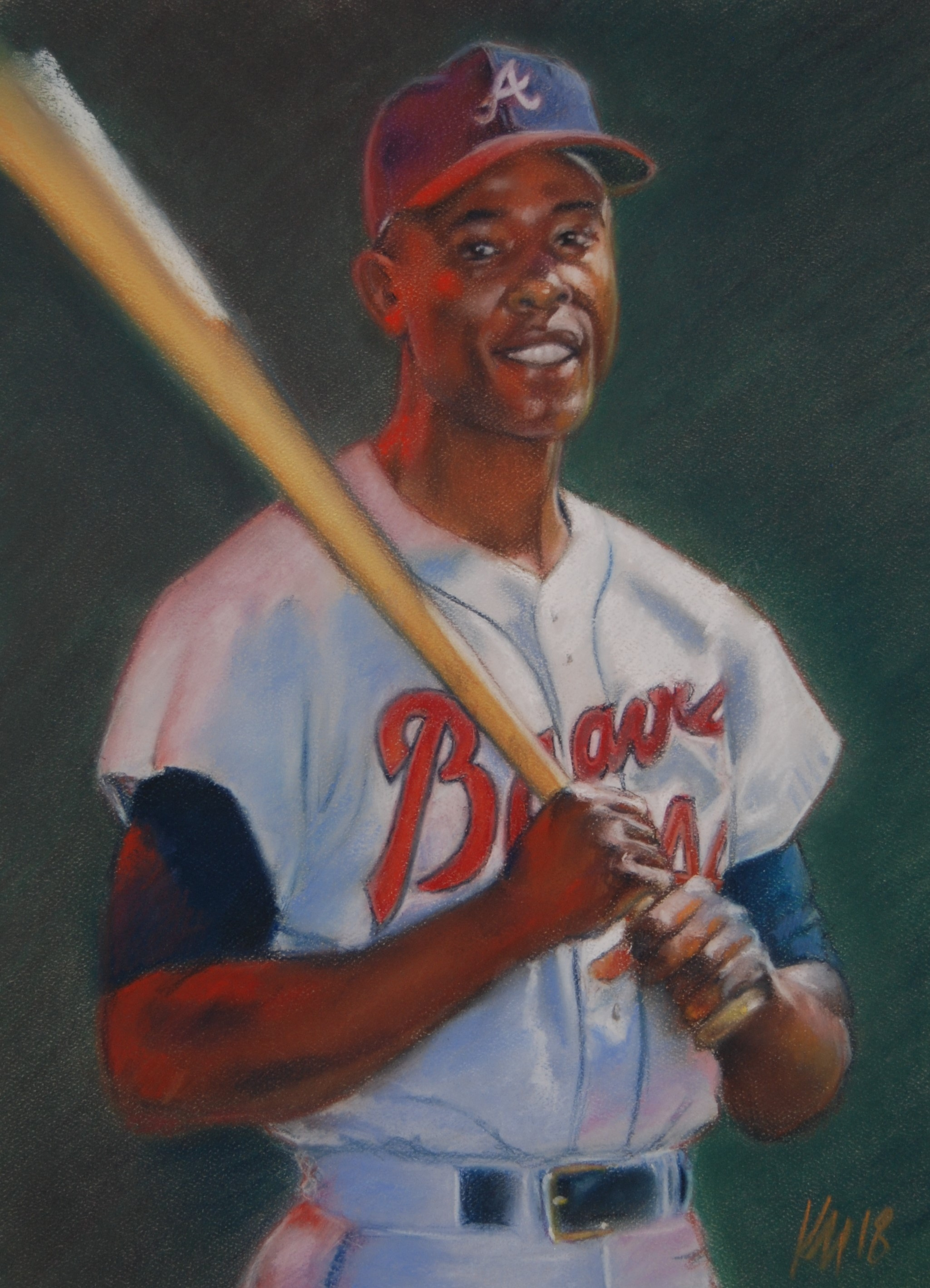 Hank Aaron, color pastel on paper, 2018
