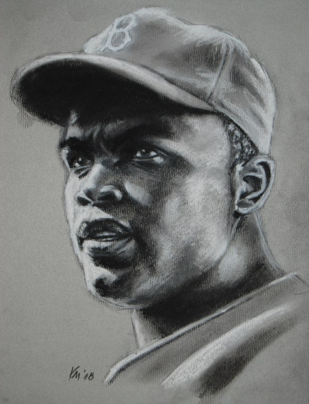 Jackie Robinson, charcoal on paper, 2009