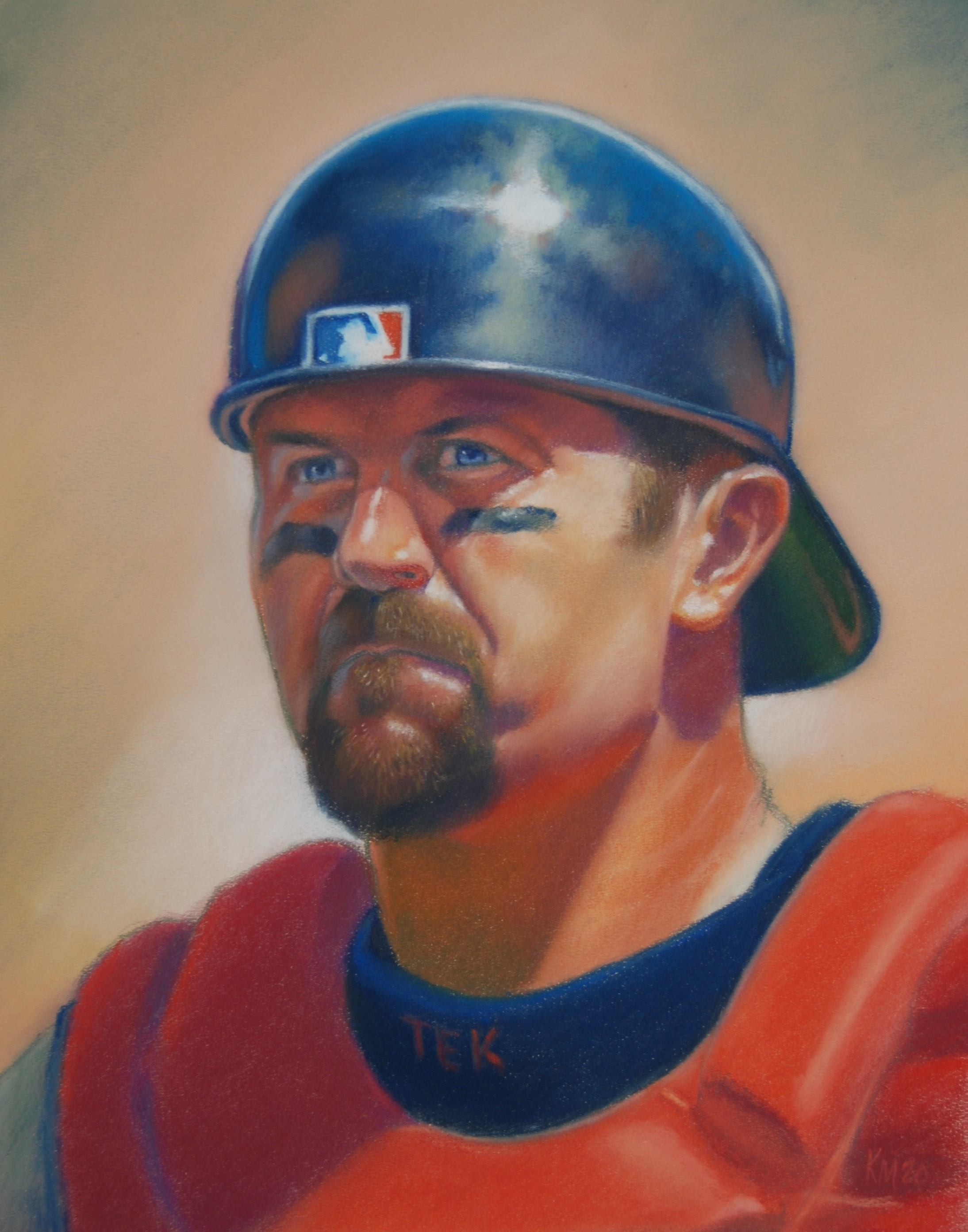 Jason Varitek, color pastel on paper, 2020