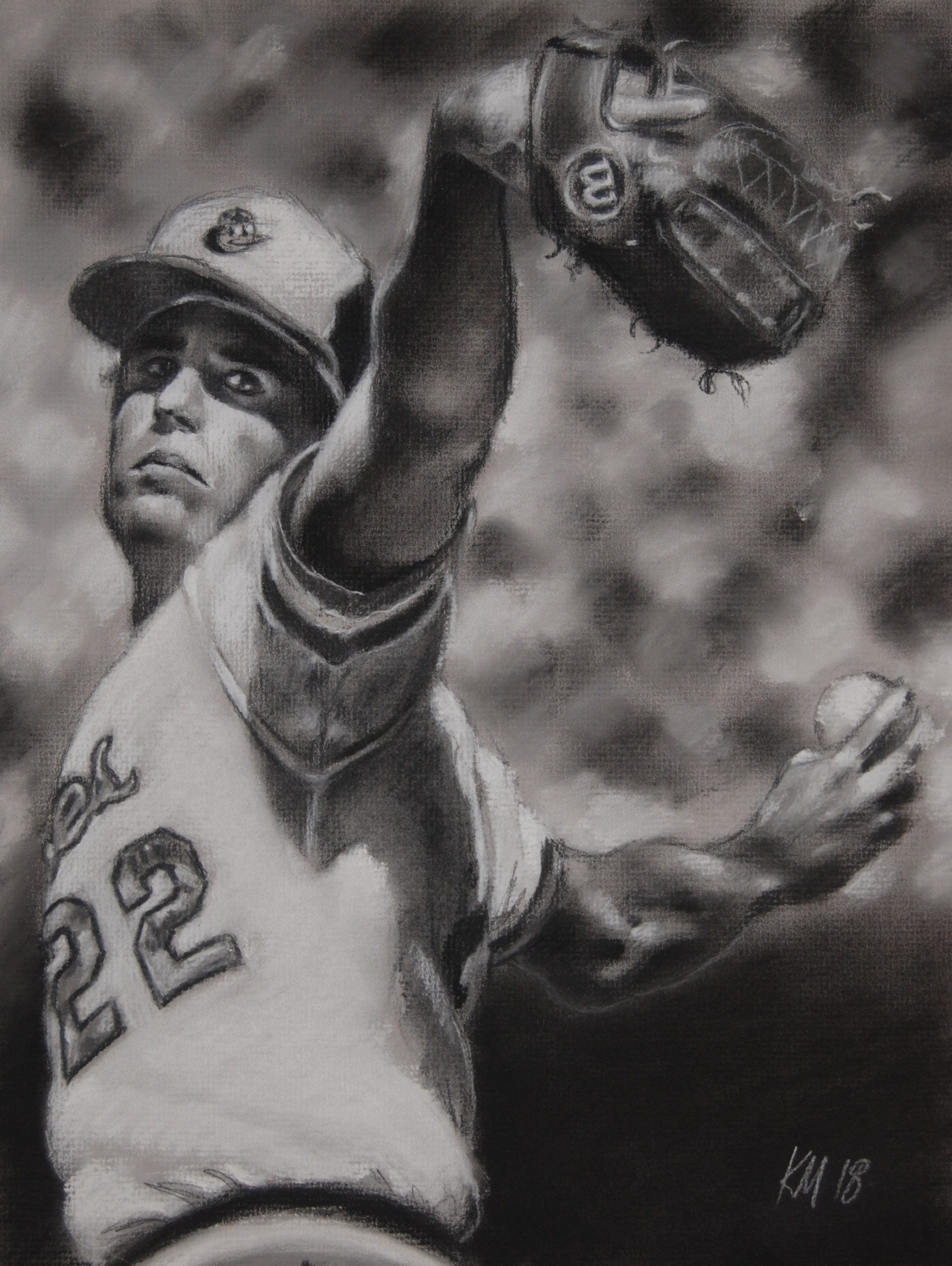 Jim Palmer, charcoal on paper, 2018