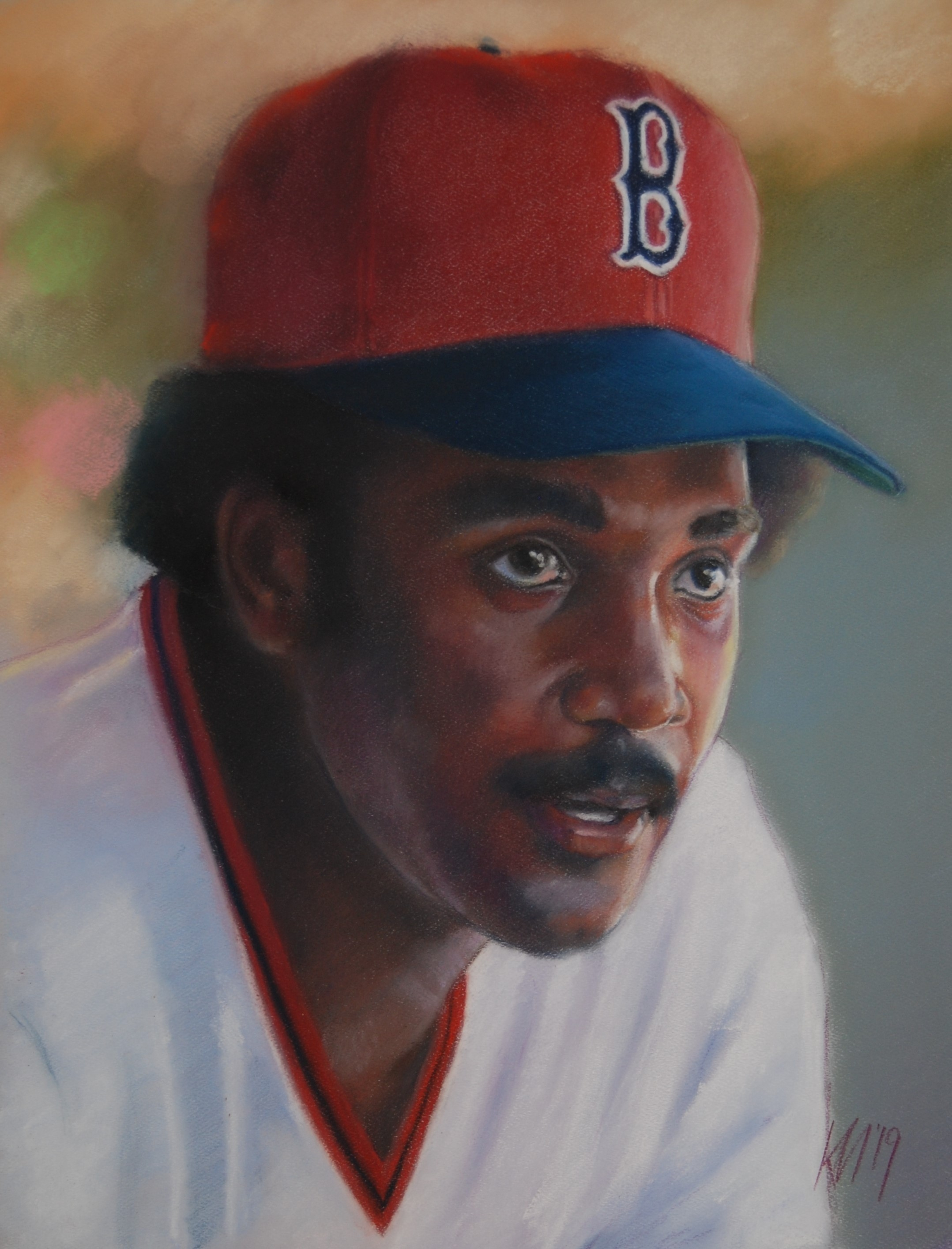 Jim Rice, color pastel on paper, 2019