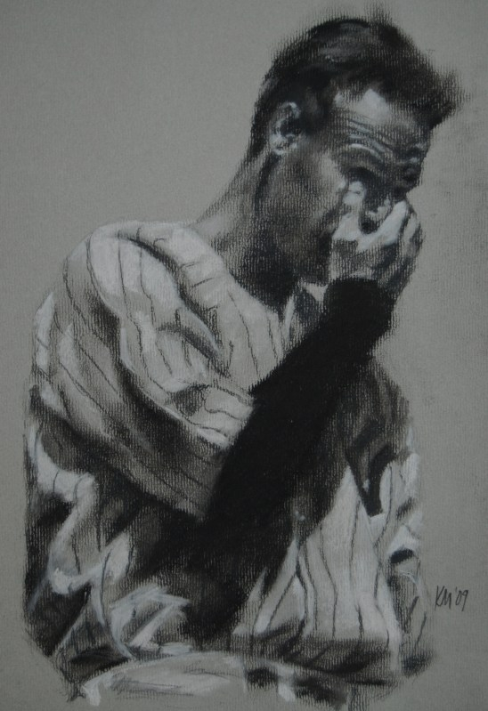 The Luckiest Man, charcoal on paper, 2009