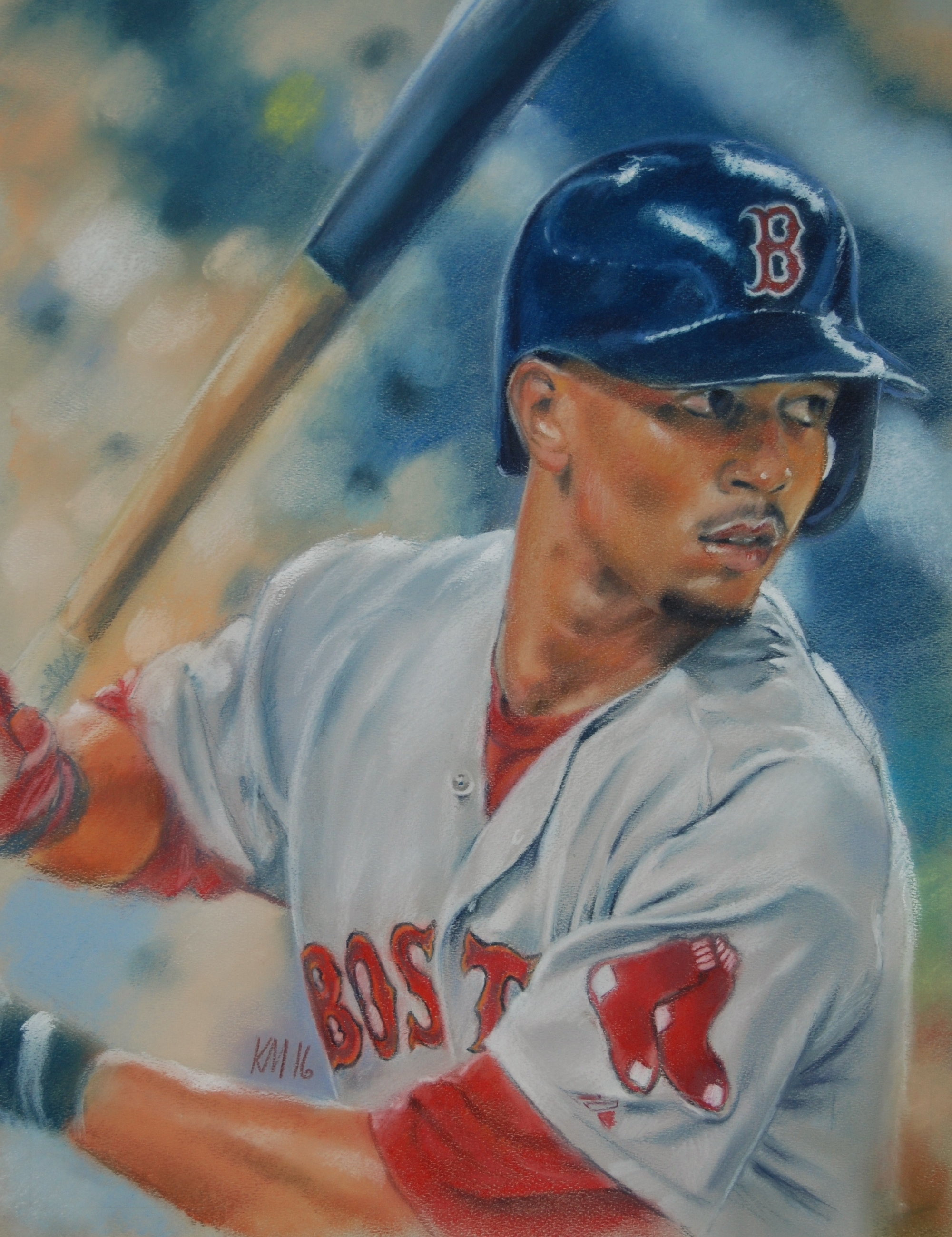 Mookie Betts, color pastel on paper, 2016