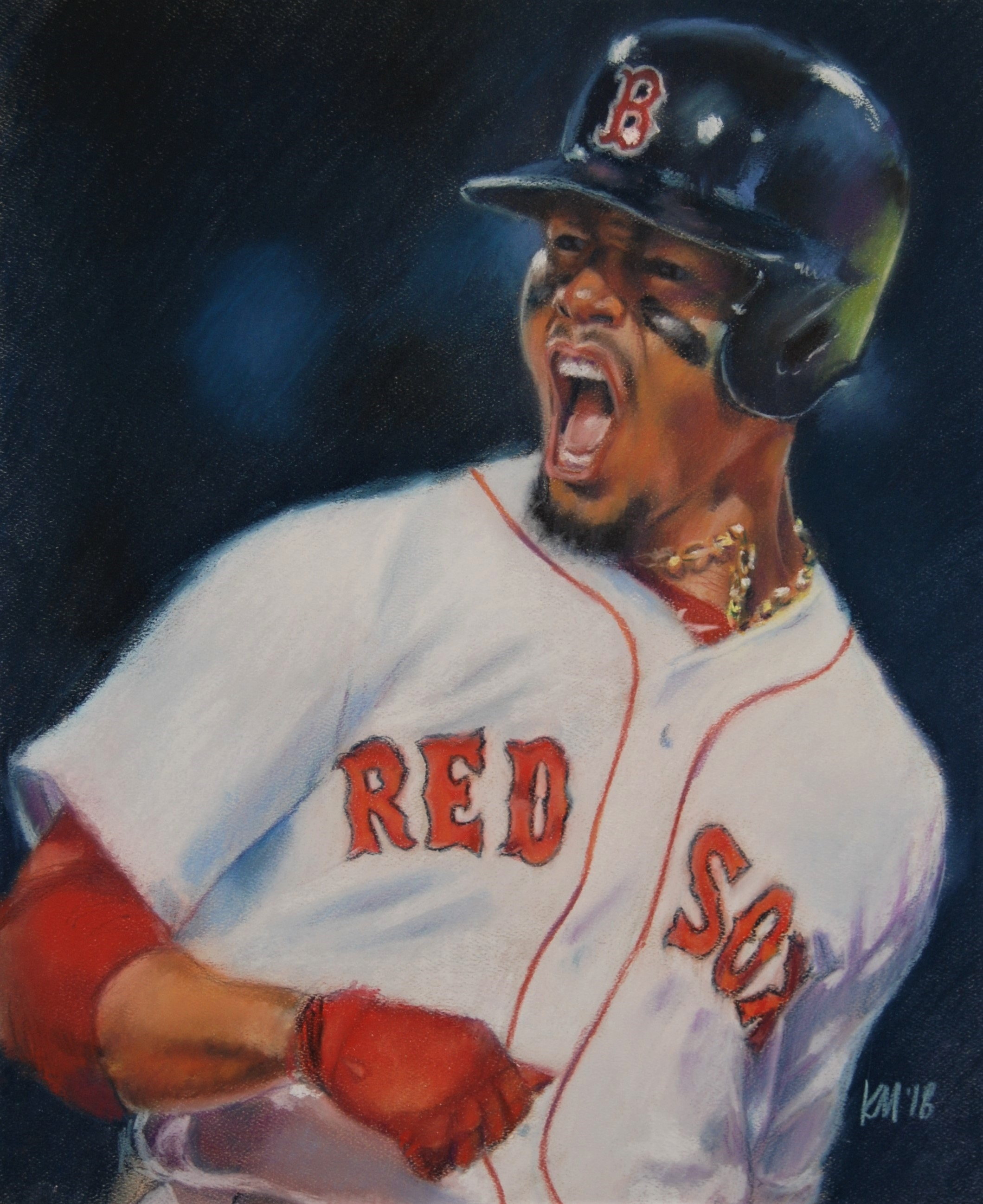 Mookie's Grand Slam, color pastel on paper, 2018