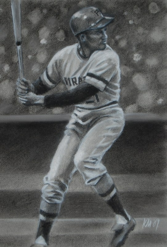 Roberto Clemente, charcoal on paper, 2009