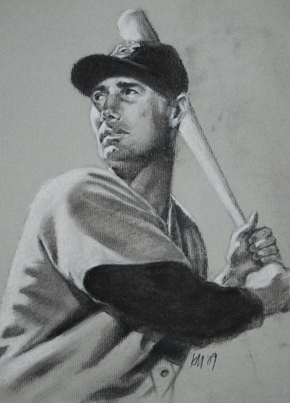 Teddy Ballgame, charcoal on paper, 2009