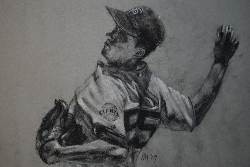 Tim Lincecum, charcoal on paper, 2009