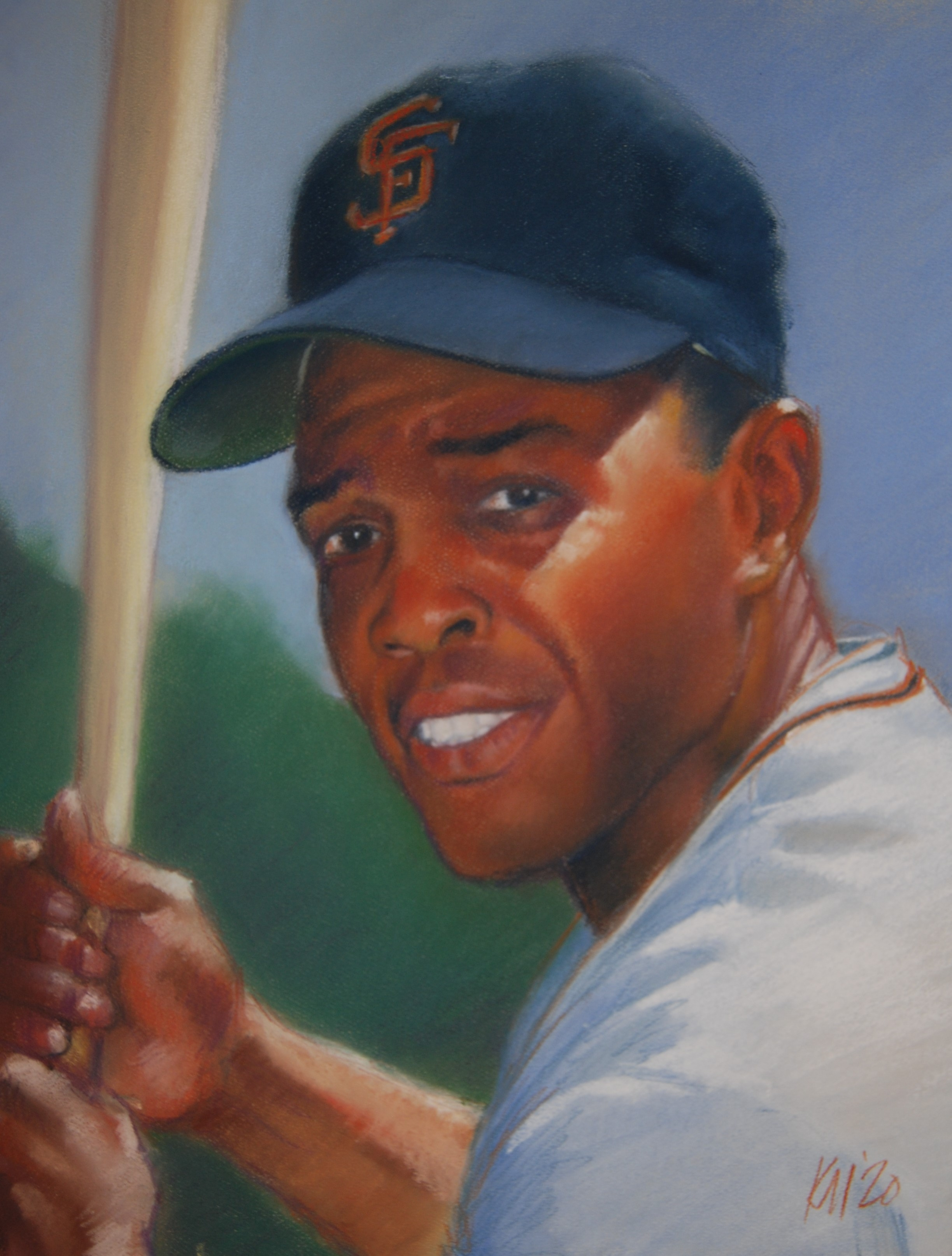 Willie Mays, color pastel on  paper, 2020
