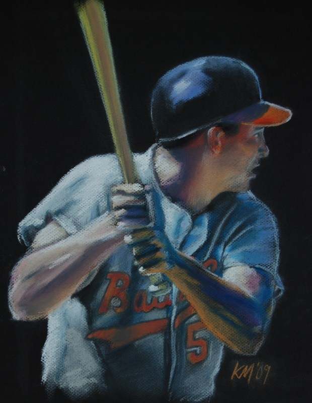 Brooks Robinson, color pastel on paper, 2009