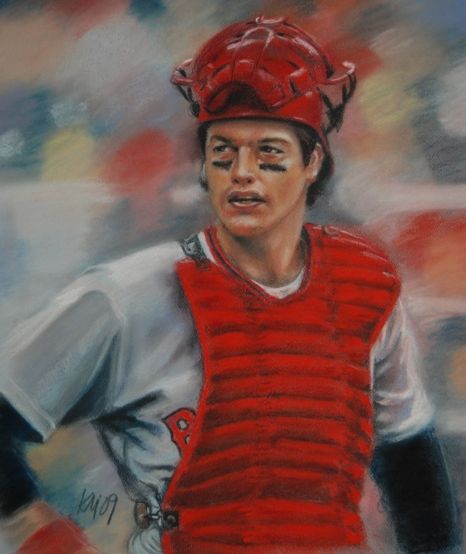 Carlton Fisk, color pastel on paper, 2009