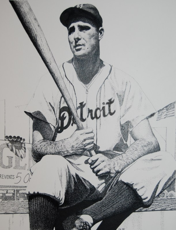 Hank Greenberg, pen and ink on Bristol board, 2009