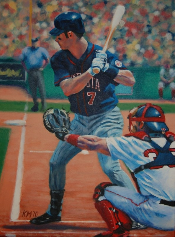 Joe Mauer, acrylic on canvas, 2010