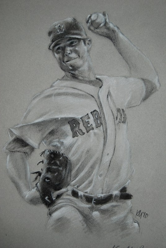 Jon Lester is Cool to Draw, charcoal on paper, 2010