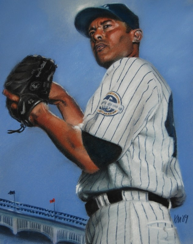 Mariano Rivera, color pastel on paper, 2009