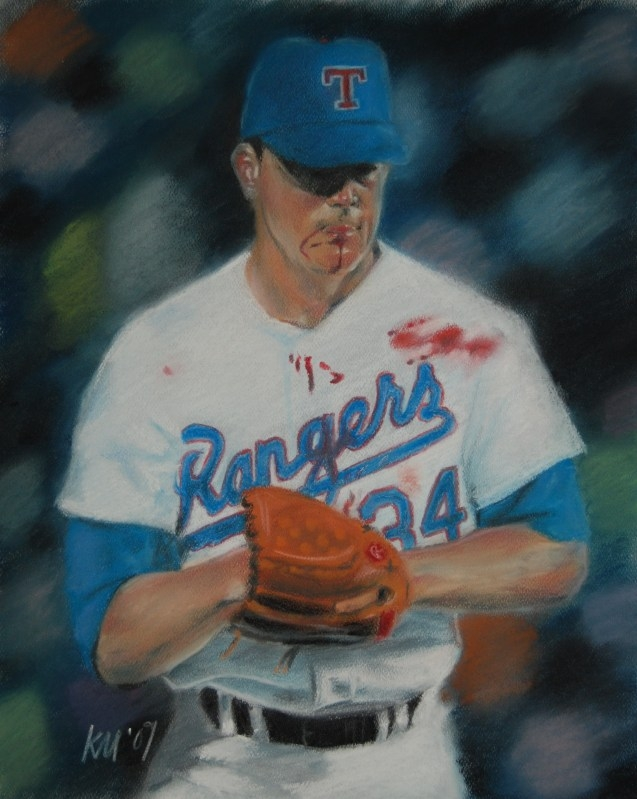 Nolan Ryan, color pastel on paper, 2009