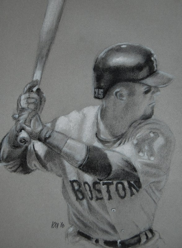 Dustin Pedroia, charcoal on paper, 2010