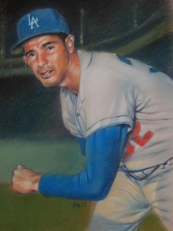 Sandy Koufax, color pastel on paper, 2013