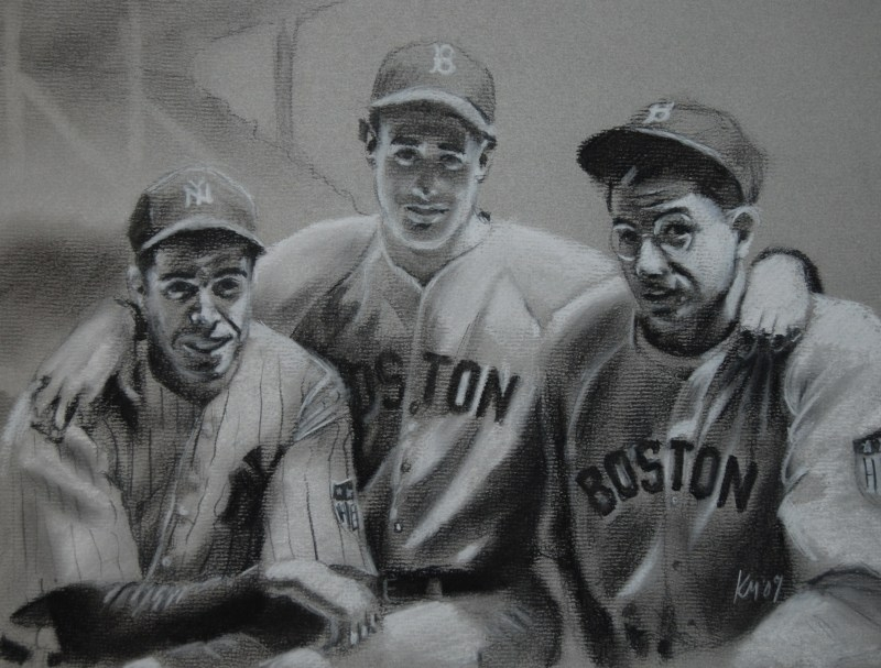 Joe, Ted and Dom, charcoal on paper, 2009