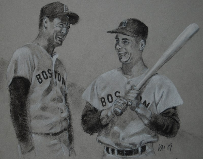 Ted and Yaz, charcoal on paper, 2009