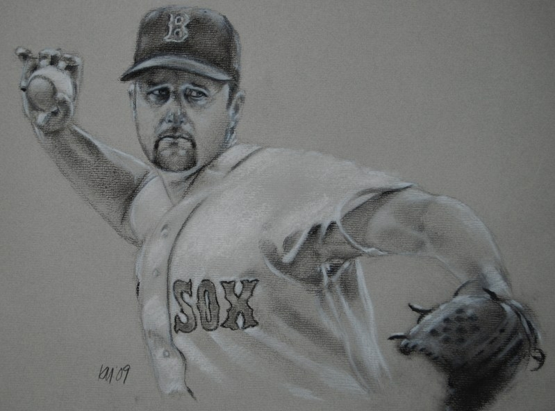 The Knuckler, charcoal on paper, 2009
