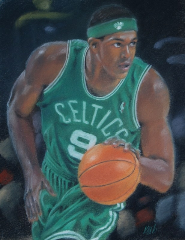 Rajon Rondo, color pastel on paper, 2010