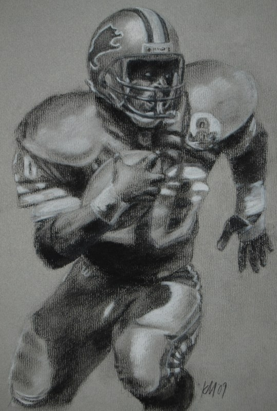 Barry Sanders, charcoal on paper, 2009