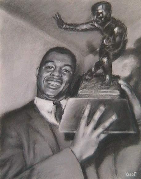 Ernie Davis, charcoal on paper, 2005