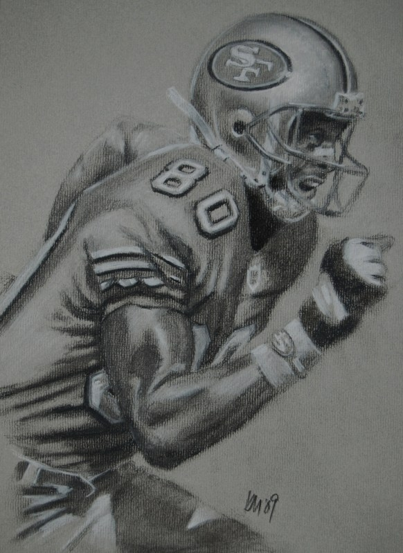 Jerry Rice, charcoal on paper, 2009