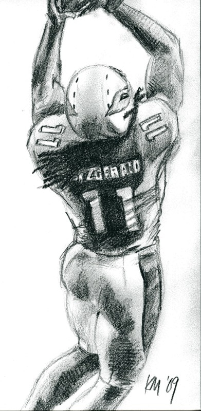 Larry Fitzgerald, pencil on paper, 2009