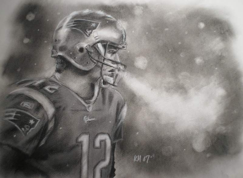 Tom Brady, charcoal on paper, 2007