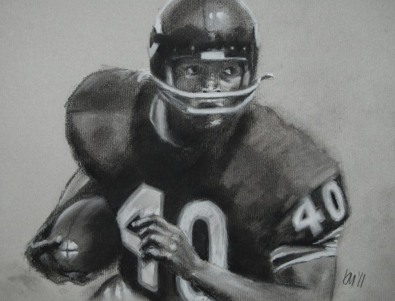 Gayle Sayers, charcoal on paper, 2011