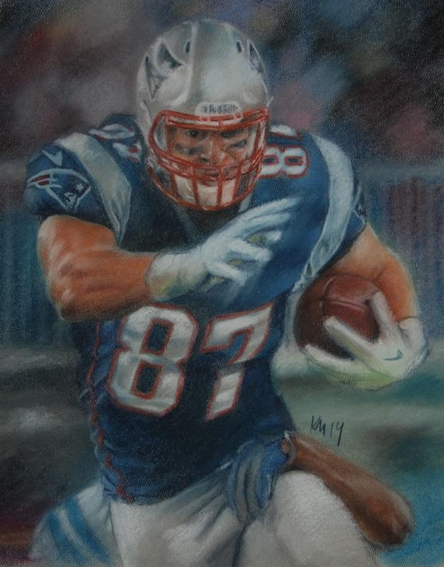 Gronk Smash!, color pastel on paper, 2014