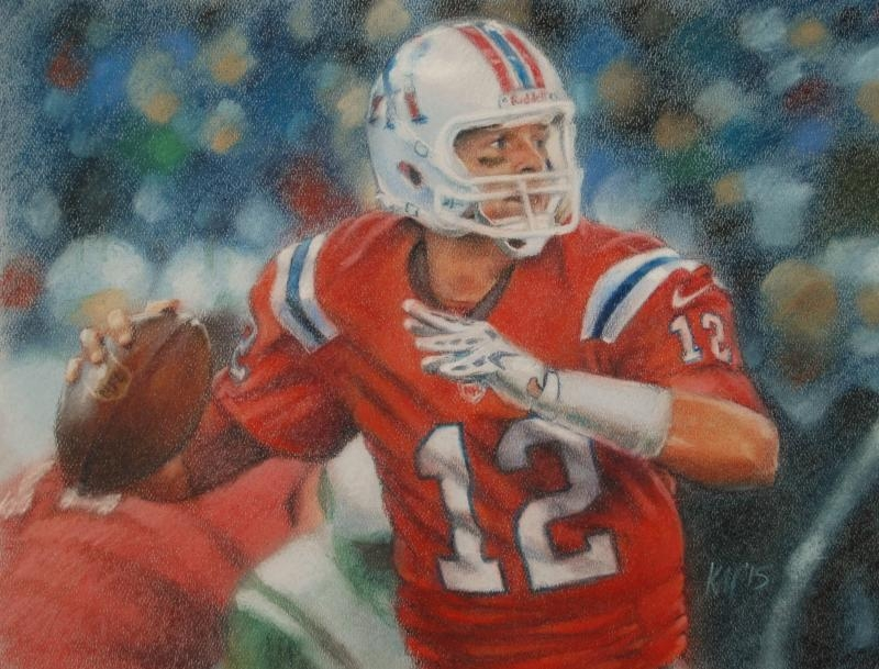 Tom Brady and Pat Patriot, color pastel on paper, 2015