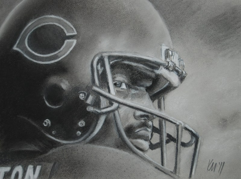 Walter Payton, charcoal on paper, 2011