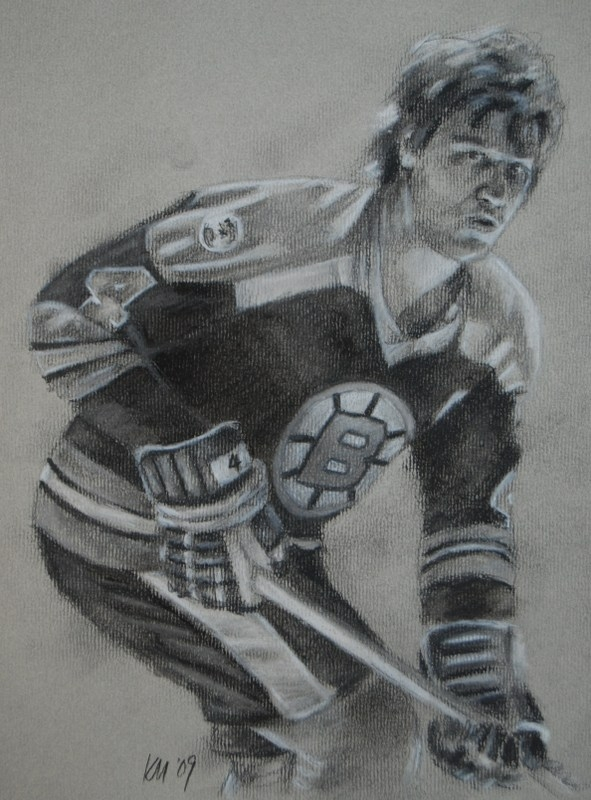 Bobby Orr, charcoal on paper, 2009