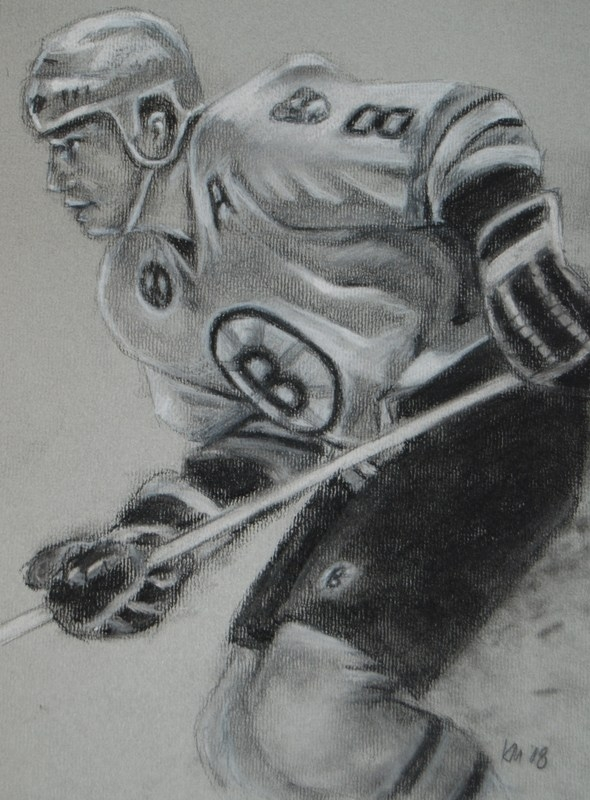 Cam Neely, charcoal on paper, 2009