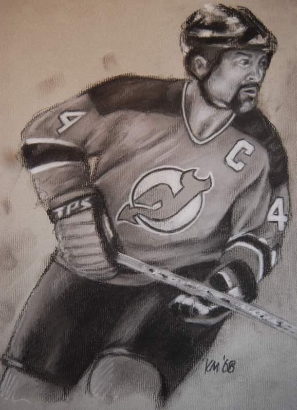Scott Stevens, charcoal on paper, 2008