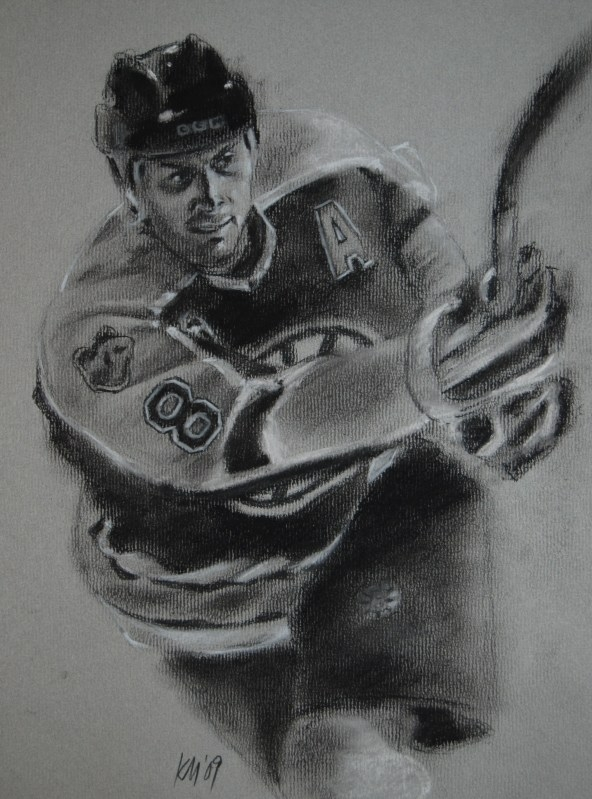 Everybody Loves Cam Neely, charcoal on paper, 2009