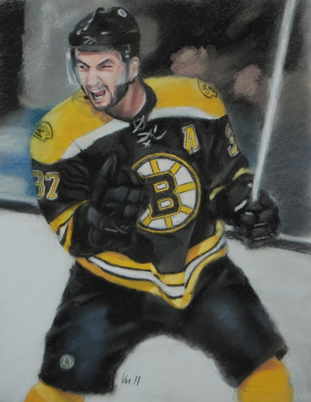 Patrice Bergeron, color pastel on paper, 2011