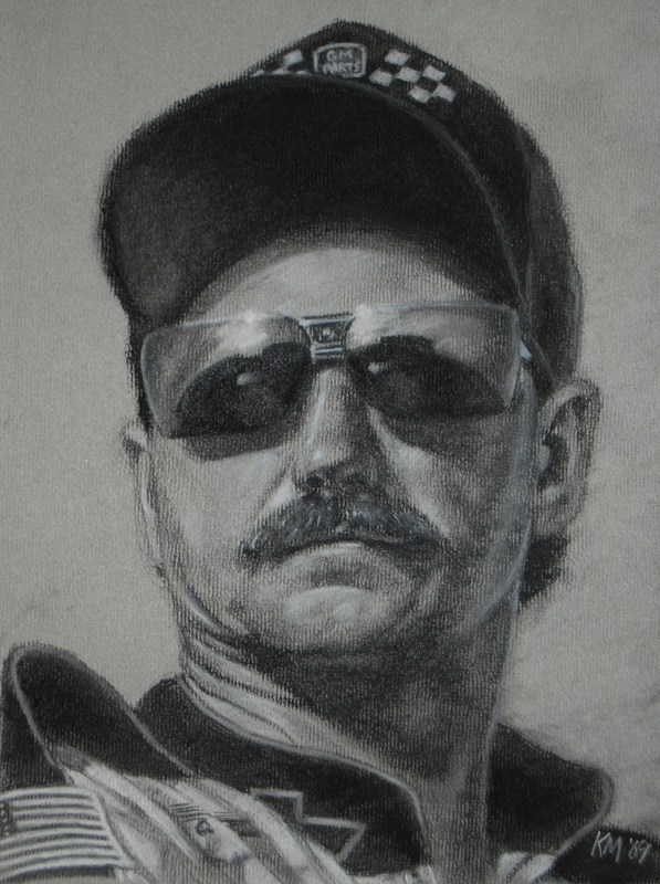 Dale Earnhardt, charcoal on paper, 2009