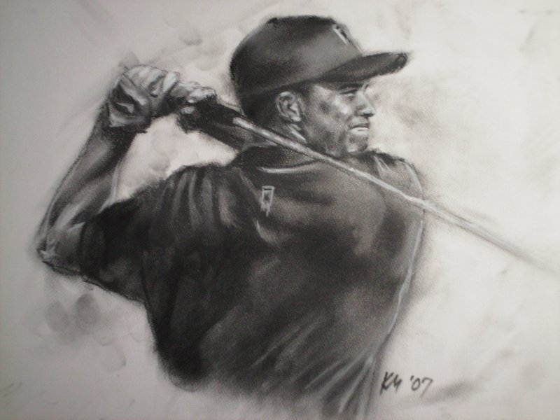 Tiger Woods, charcoal on paper, 2007