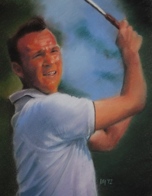 Arnold Palmer, color pastel on paper, 2012