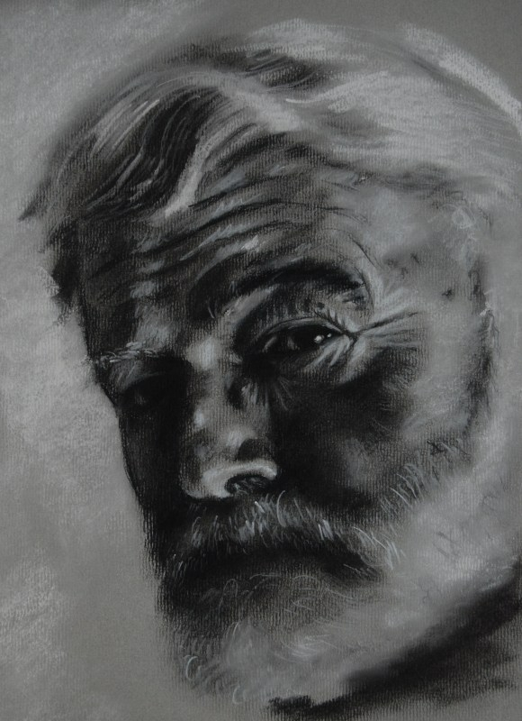 Hemingway, charcoal on paper, 2009