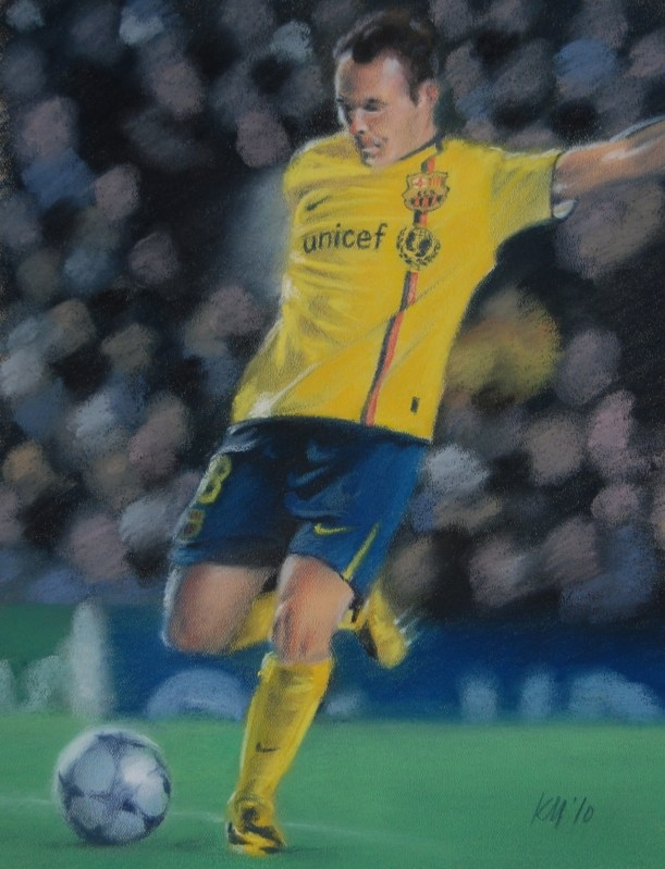 Andres Iniesta, color pastel on paper, 2010